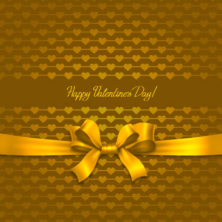 Valentines day card with golden ribbon and hearts photo