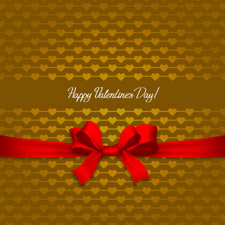Valentines day card with ribbon and hearts photo