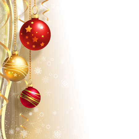 Christmas background with gold and red balls