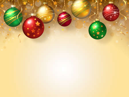 christmas decorations: Christmas background with green, red and gold balls Stock Photo