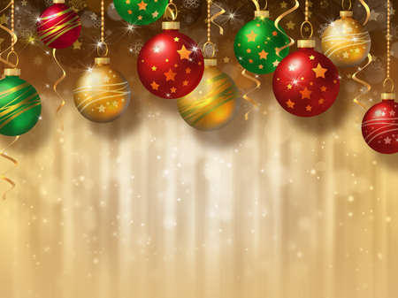 Christmas background with different baubles photo