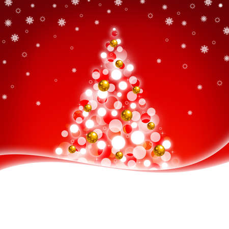 Red greeting card with Christmas tree Stock Photo