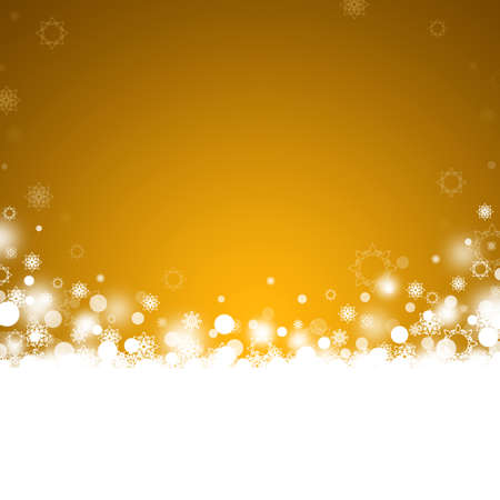 Gold abstract Christmas background with snowflakes Stock Photo