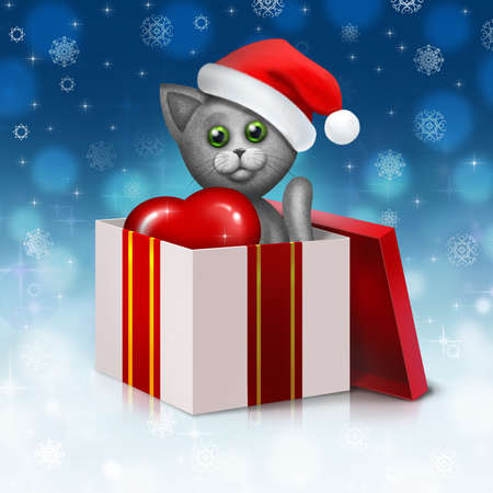 Christmas background with gray cat in the gift box photo