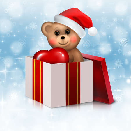 Christmas background with teddy bear in the gift box photo