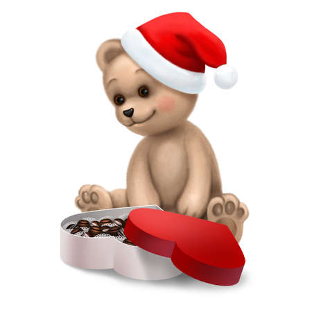 Teddy bear in Christmas hat with a box of sweets Stock Photo