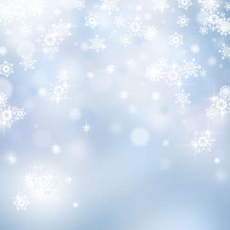 blue christmas lights: Light abstract Christmas background with snowflakes and stars