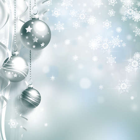 christmas decorations: Background with Christmas balls and white snowflakes