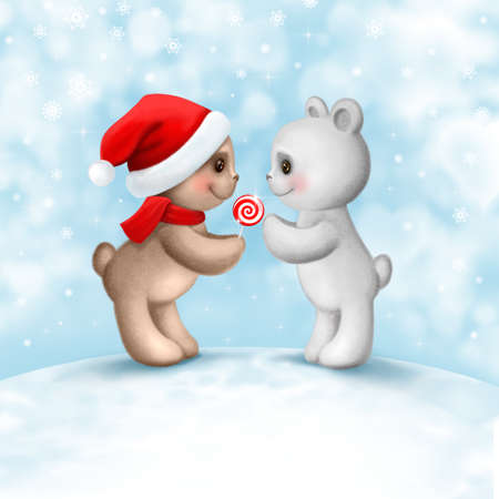Christmas card with two teddy bears in love Stock Photo - 22494986