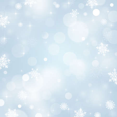 Light abstract Christmas background with snowflakes and stars