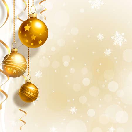 Achtergrond met kerstballen en witte sneeuwvlokken