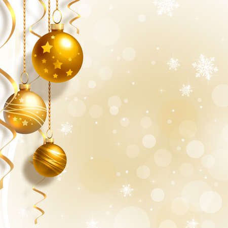 golden glow: Background with Christmas baubles and white snowflakes