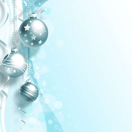 Background with Christmas balls and white snowflakes