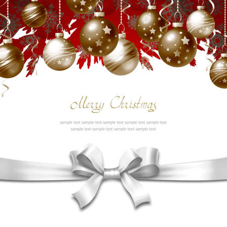 Greeting Card with Christmas balls, bow and place for text Stock Photo