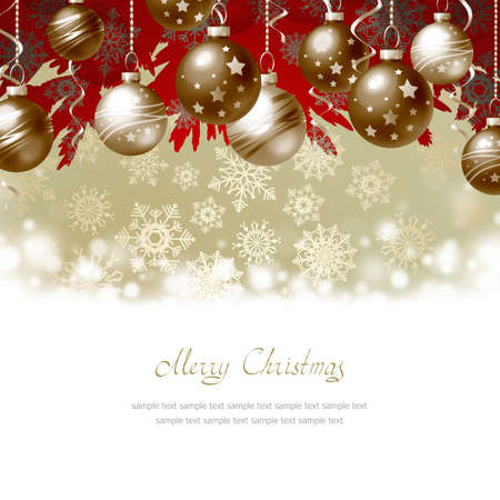 christmas snow: Greeting Card with Christmas balls and place for text