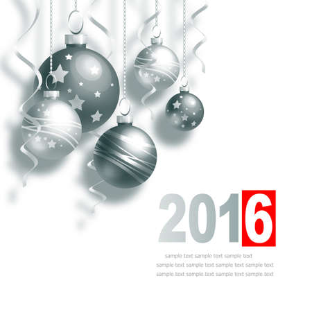 New Year Greeting Card with Christmas balls and place for text Stock Photo