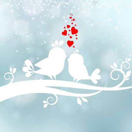 Abstract background with two birds in love