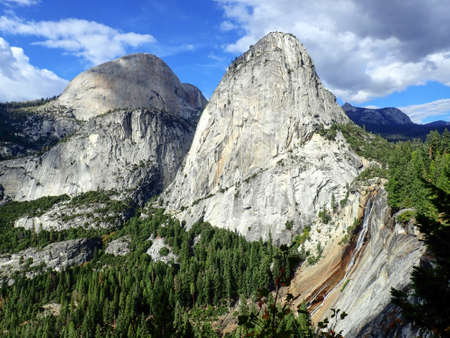 Vast Vista of Sierra Nevada Mountains of California with Nevada Falls in Foreground Stock Photo