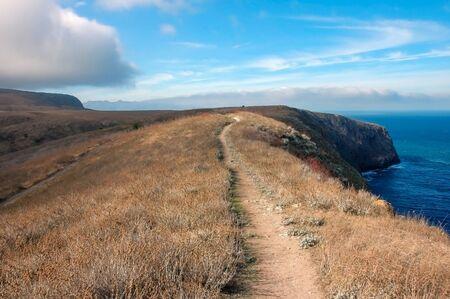 Trail along edge of Santa Cruz Island in Channel Islands off Coast of California