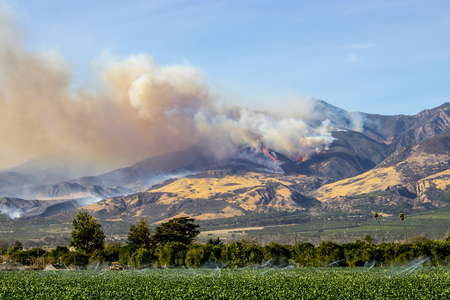 Flames and Smoke in Ventura County Mountains of California Stock Photo