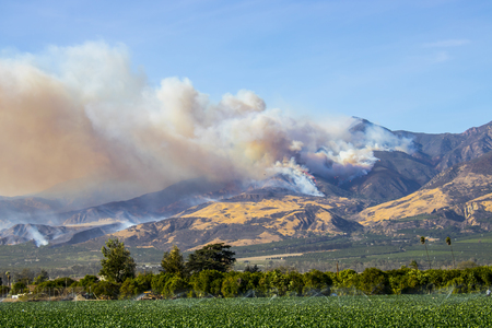Thomas Fire Burns in Hills Above California Stock Photo