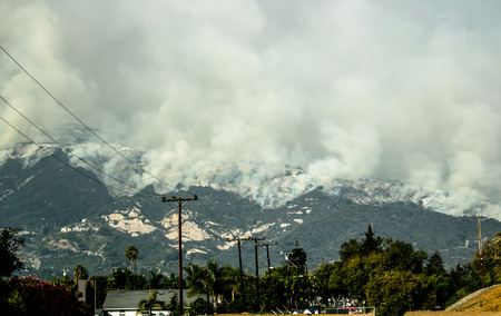 Fire Descends Mountain Above Carpinteria California Stock Photo