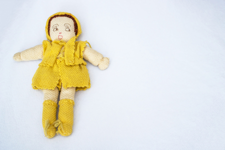Handmade Old Knit Doll on White Background