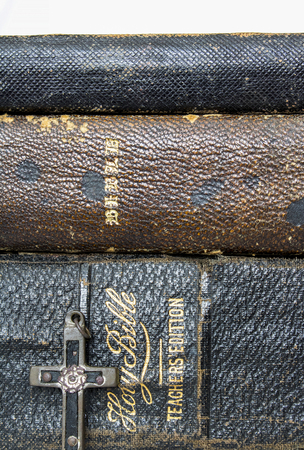 Antique Worn Leather Bibles with Antique Wood Metal Nails Cross