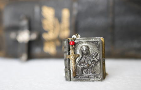 Antique Small Rosary and Virgin Mary Case in foreground