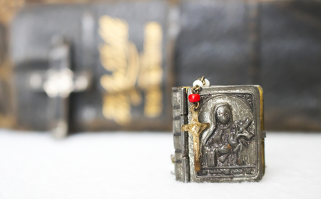 Antique Tiny Rosary with Crucifix Stock Photo