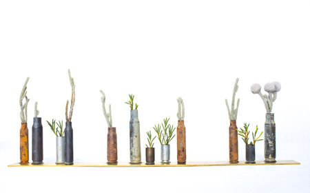 Row of Bullet Casings as Bud Vases Hold Plants Stock Photo
