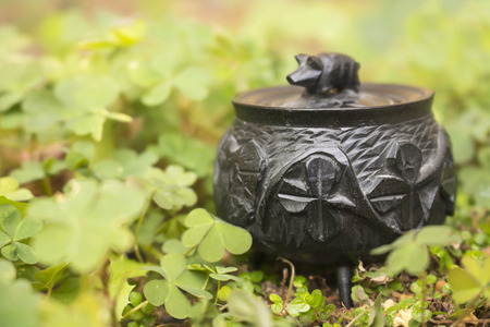 Close Up Antique Tiny Bog Oak Irish Pot with Shamrocks sits in Clover Stock Photo