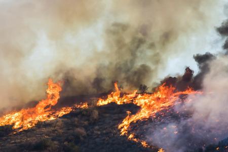 Bright Orange Flames and Black Smoke on Burning Hillside During California Fire