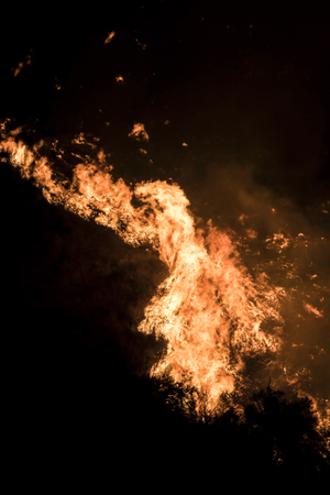 Close Up Detail Orange Flames Burning Hillside at Night During Woolsey Fire Stock Photo