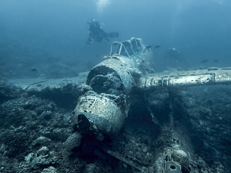 Jake Seaplane wreck from World War 2 sits on ocean floor underwater in Palau, Micronesia.