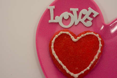 Love Cookie on pink plate