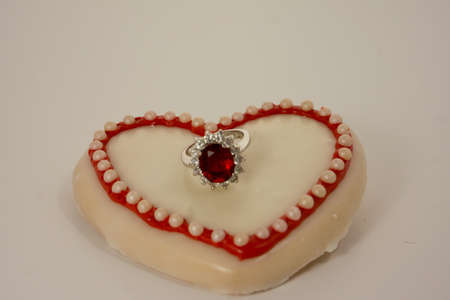 Ring on heart cookie for Valentines day