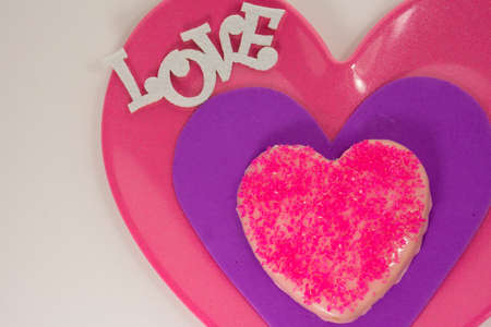 Pink Cookie on Love plate