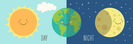 winter solstice: Cute Day and Night with funny smiling cartoon characters of planets Illustration