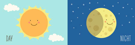 winter solstice: Cute Day and Night with funny smiling cartoon characters of planets.
