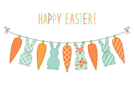 Cute childish Easter bunting with bunnies and carrots and hand written text