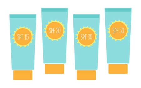 Cute tubes of sunscreen with different SPF(sun protection factor)