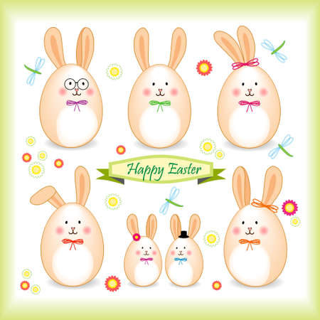 Colorful images of Easter characters and animals Illustration