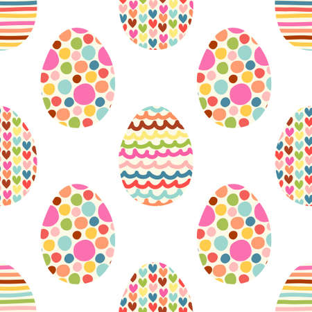 Cute seamless pattern with hand drawn Easter eggs