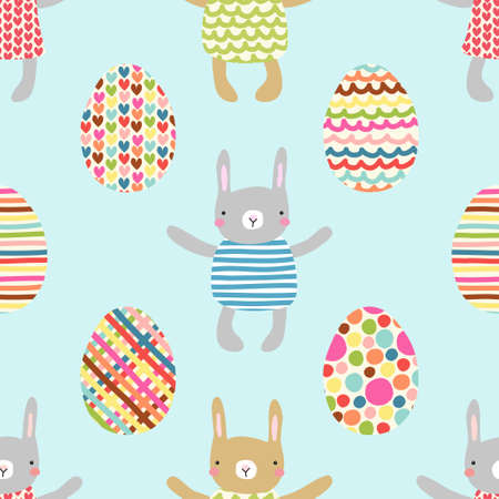 egg cups: Easter seamless pattern design with bunnies Illustration