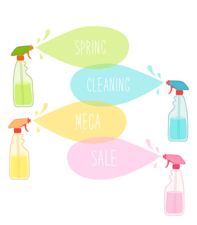 Cute vivid spring cleaning background with hand written text Illustration