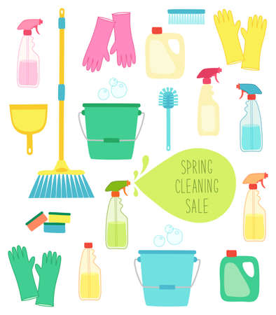 Cute vivid spring cleaning background with hand written text Ilustracja