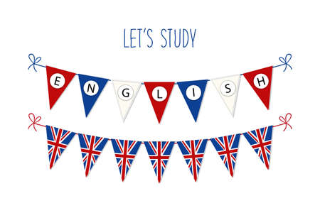 pronounce: Cute bunting flags for English Language Day.