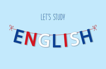 Cute bunting flags for English Language Day in traditional colors. Illustration