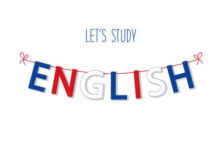 Cute bunting flags for English Language Day in traditional colors. Vectores